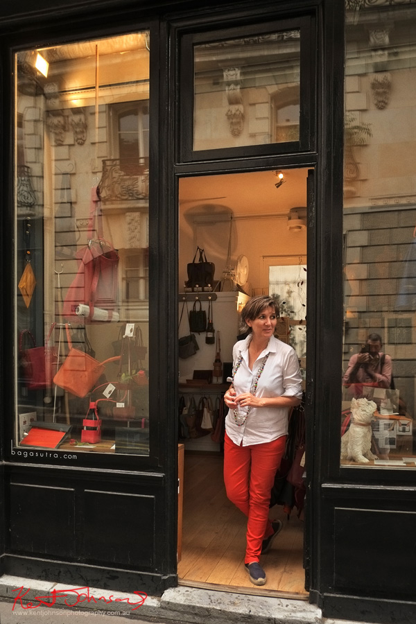 Portrait of Catherine Loiret on Rue Amélie Paris, France. Photography by Kent Johnson for Street Fashion Sydney - Paris Edition.