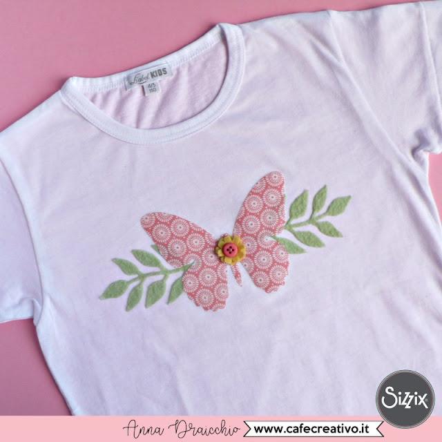 Maglietta fai da te con farfalla per bambina