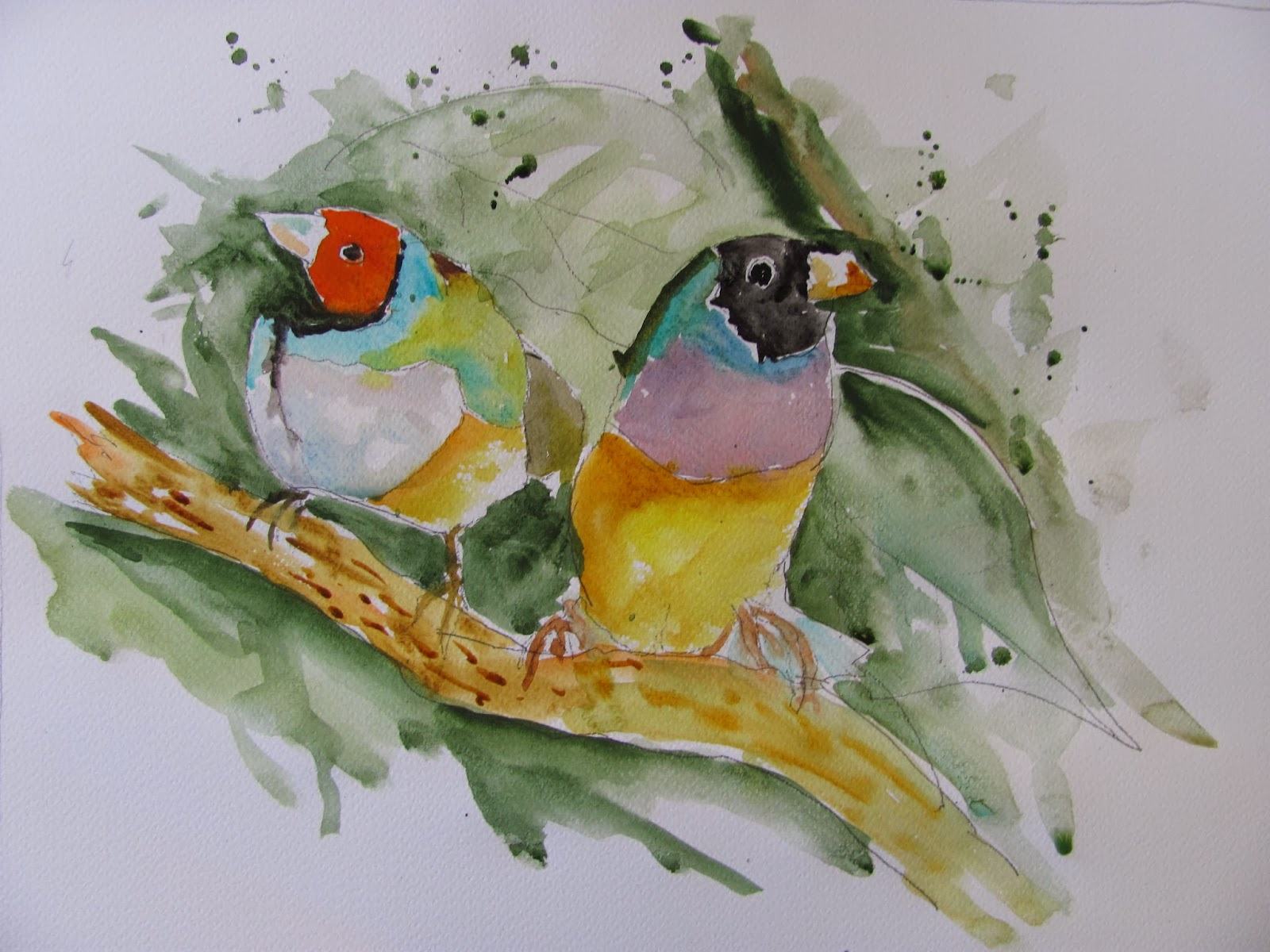 The Watercolour Log Painting Colorful Birds For Fun