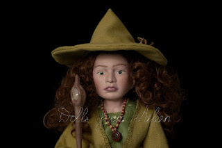 ooak celtic witch doll dressed in green