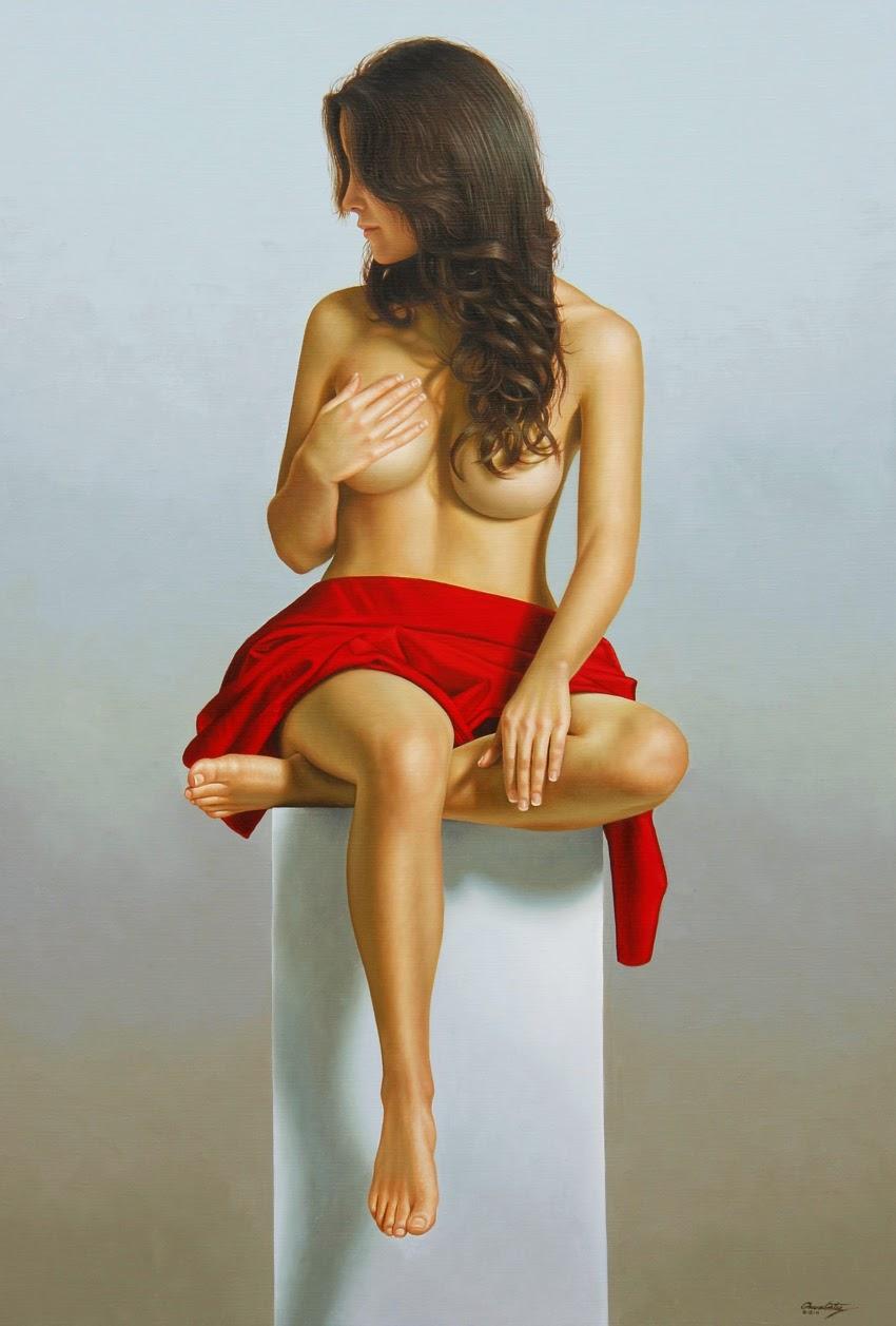 Divindade Feminina em Vermelho - Omar Ortiz | Pintura Sensual Hiper-Realista  - Mexicano