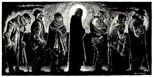 Wood cut: Christ of the Breadlines, by Fritz Eichenberg, showing Jesus and other poor men lined up to receive food.