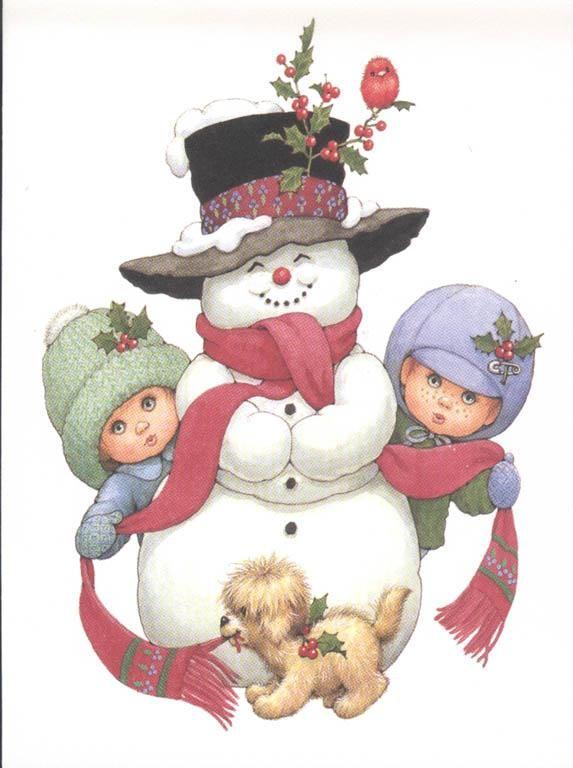 niños y muñeco de nieve