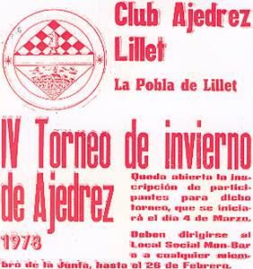 Cartel del IV Torneo de invierno de Ajedrez de La Pobla de Lillet, 1978