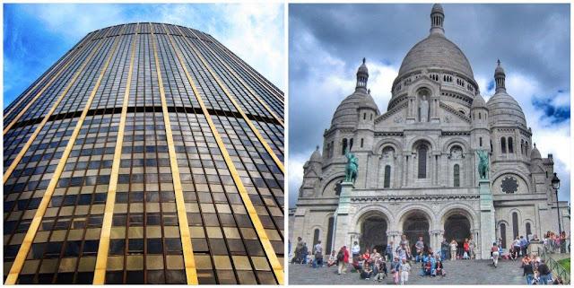 Torre Montparnasse en París – Basílica del Sagrado Corazón Sacré-Coeur en Montmartre, París