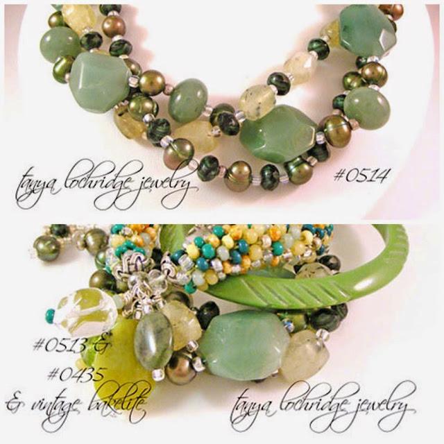 Tanya Lochridge Jewelry Green Aventurine, Prehnite Gemstone & Freshwater Pearl Bracelet