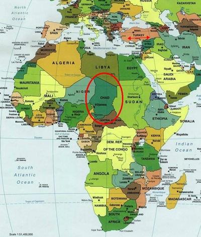 Dünya Haritasında Çad