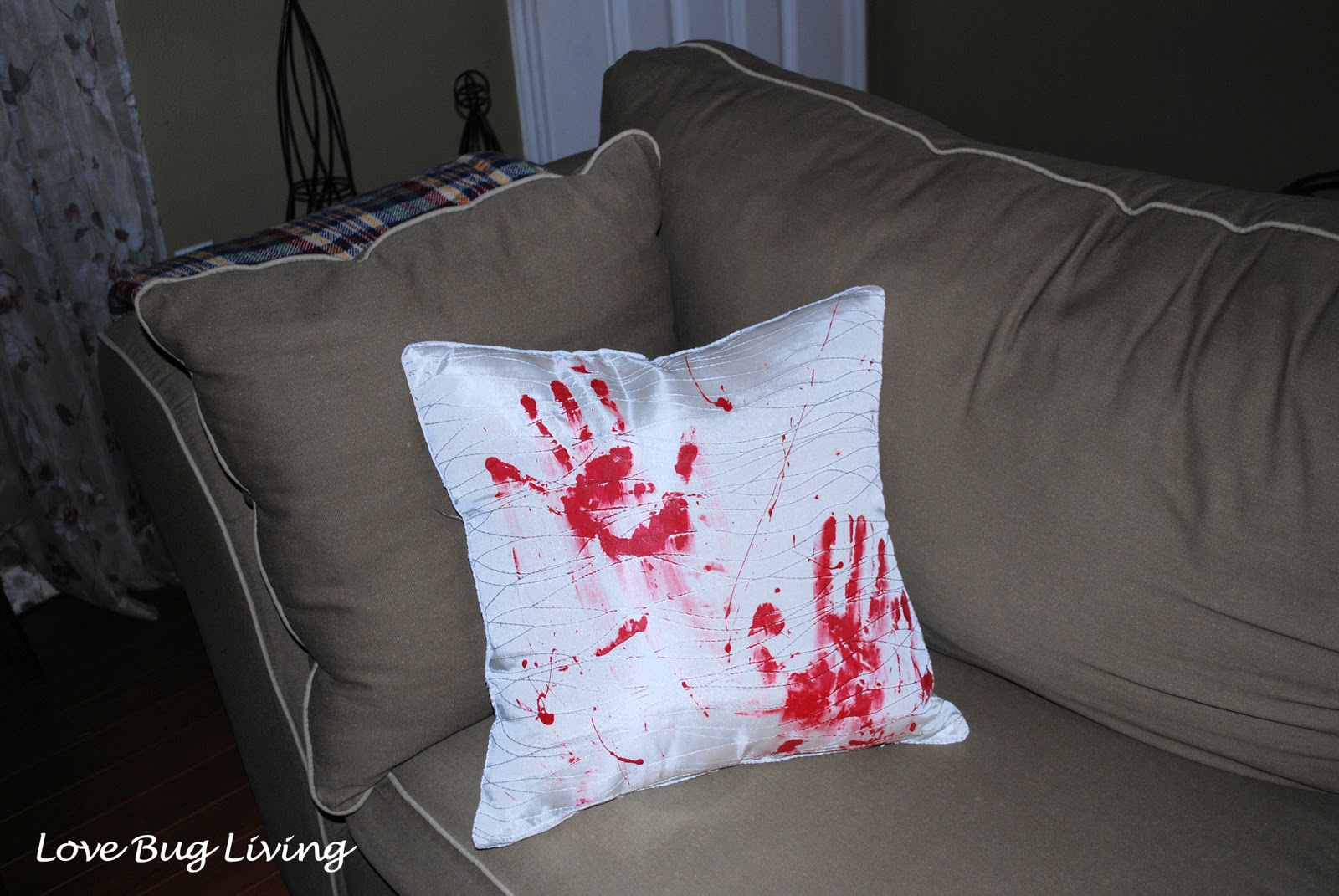Love Bug Living Bloody Halloween Throw Pillow