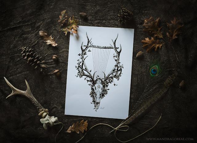 Aker Dantzaria Ink Design Deer Skull Pagan Horned God Cernunnos by Victoria Francés