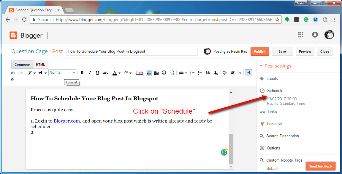 Schedule A Post on Blogger