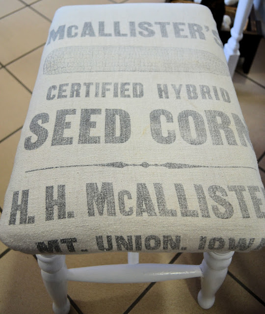 DIY Grain Sack Bench from Setting for Four #Grain Sack #Bench #DIY