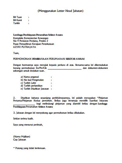 Contoh Surat Iringan Asal Ketua Jabatan