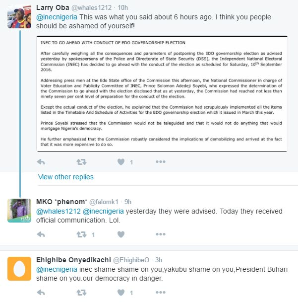 Social media roast INEC for postponing Edo State guber elections