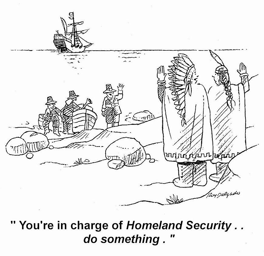 a Roy Delgado cartoon about homeland security