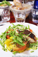Merluza with Assorted Grilled Tomatoes, Arugula, and Cucumber at Juveniles in Paris