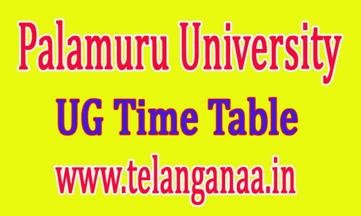 Palamuru University UG Supply Time Table 2016 Download