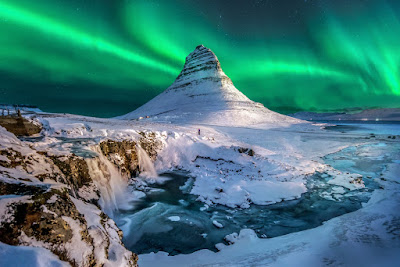 Northern Lights over Iceland's Kirkjufell mountain