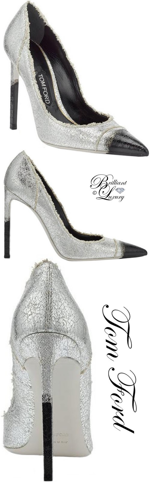 Brilliant Luxury ♦ Tom Ford frayed canvas pumps #silver