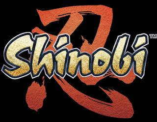 Logo Shinobi, muestra el texto sobre fondo negro y caracteres japoneses