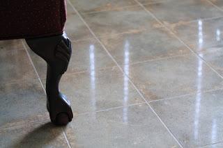 Polished concrete floors.