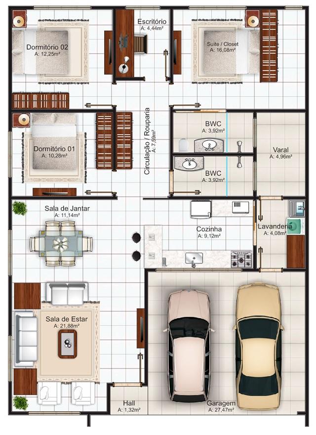 Plano de casa de 144 m2 planos de casas gratis y for Planos para casas