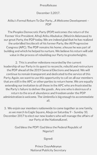 """IMG 5746 - 9JA NEWS: PDP on Atiku's Return: """"We are glad he has realized the unbridled lies/deceit of his former party"""""""