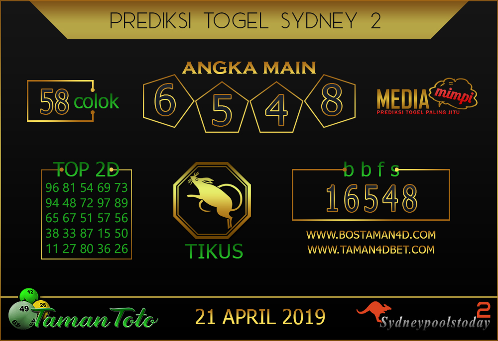Prediksi Togel SYDNEY 2 TAMAN TOTO 21 APRIL 2019