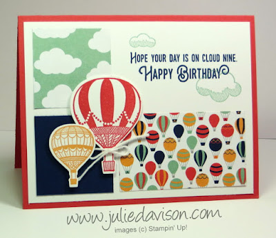 Stampin' Up! Lift Me Up from 2017 Occasions Catalog + Sale-a-bration SAB Carried Away Designer Paper -- 1 of 3 cards in Stamp of the Month Club Card Kit by Julie Davison, www.juliedavison.com