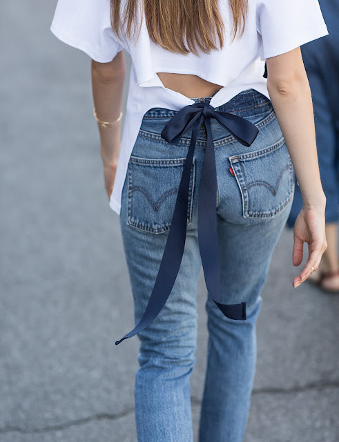 casual cool: ribbon open back white tee