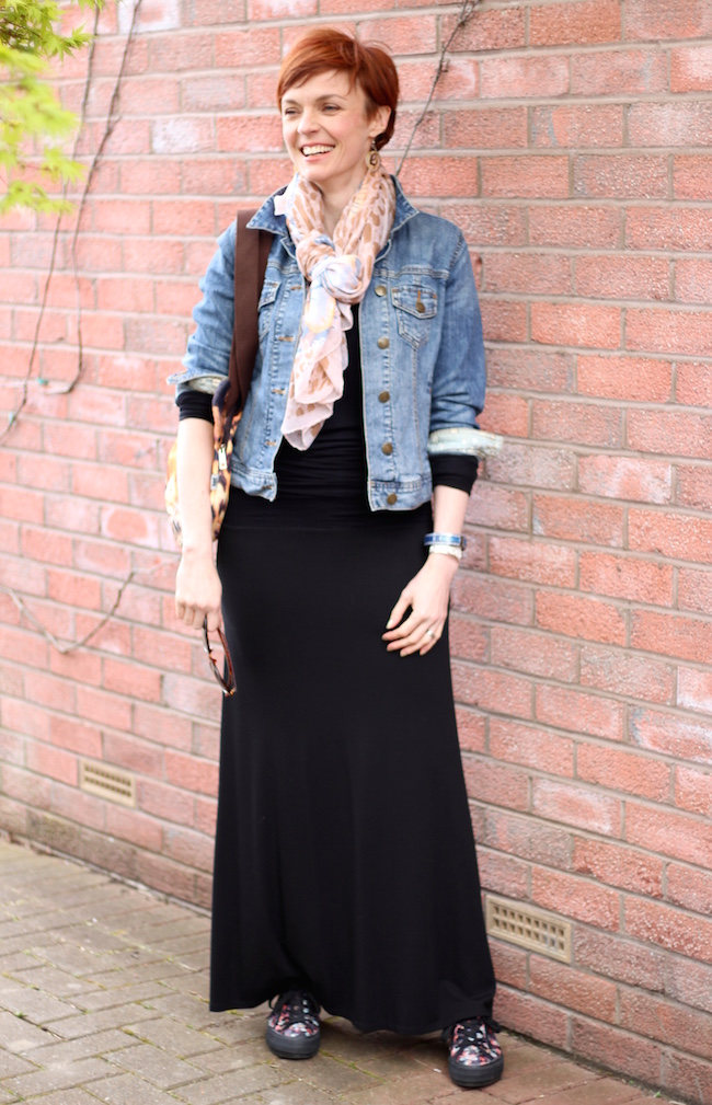 Fake Fabulous | Black ME&EM maxi dress, Boden denim jacket, leopard bag