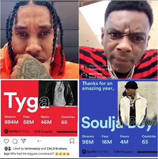 Tyga mocks Soulja Boy, over his claim of making the 'biggest comeback' in 2018