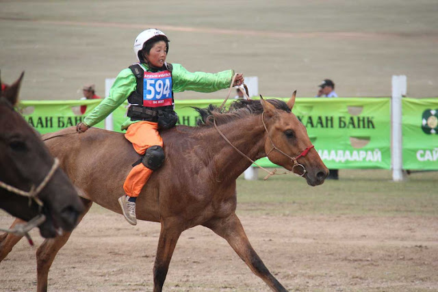 The finishing line of a Naadam horse race, Mongolia