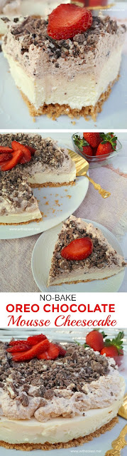This No-Bake Cheesecake had my family raving ! Crust, Cheesecake layer, Chocolate Mousse and more Chocolate !