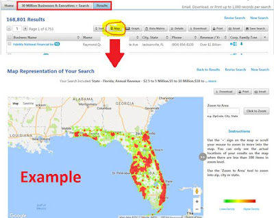 a to z database search results with the map tab selected, map of Florida with data points