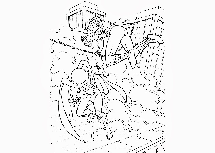 Spiderman villain fight coloring pages | Free Coloring ...