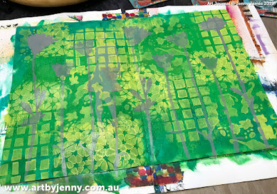 background blending and stenciling, mixed media artwork by Jenny James