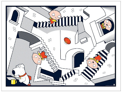 "San Diego Comic-Con 2017 Family Guy ""Crazy Stairs"" Art Print by Dave Perillo x Toddland"