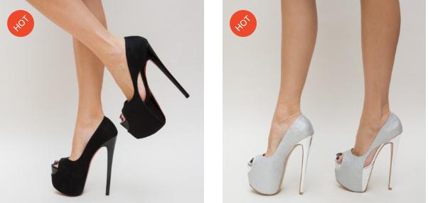 Pantofi eleganti decupati cu platforma inalta negri, argintii pentru evenimente