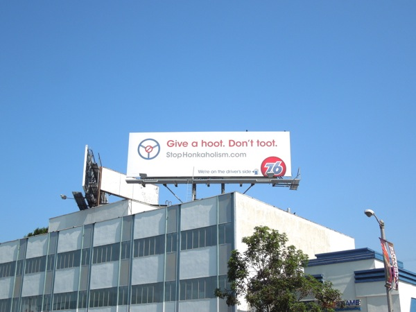 Give hoot Don't toot 76 billboard