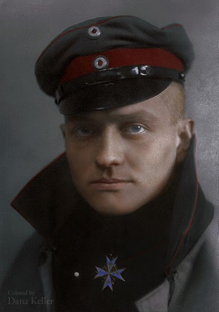 Colorized portrait of The Red Baron, Manfred von Richthofen (1892 – 1918), colored by Dana Keller
