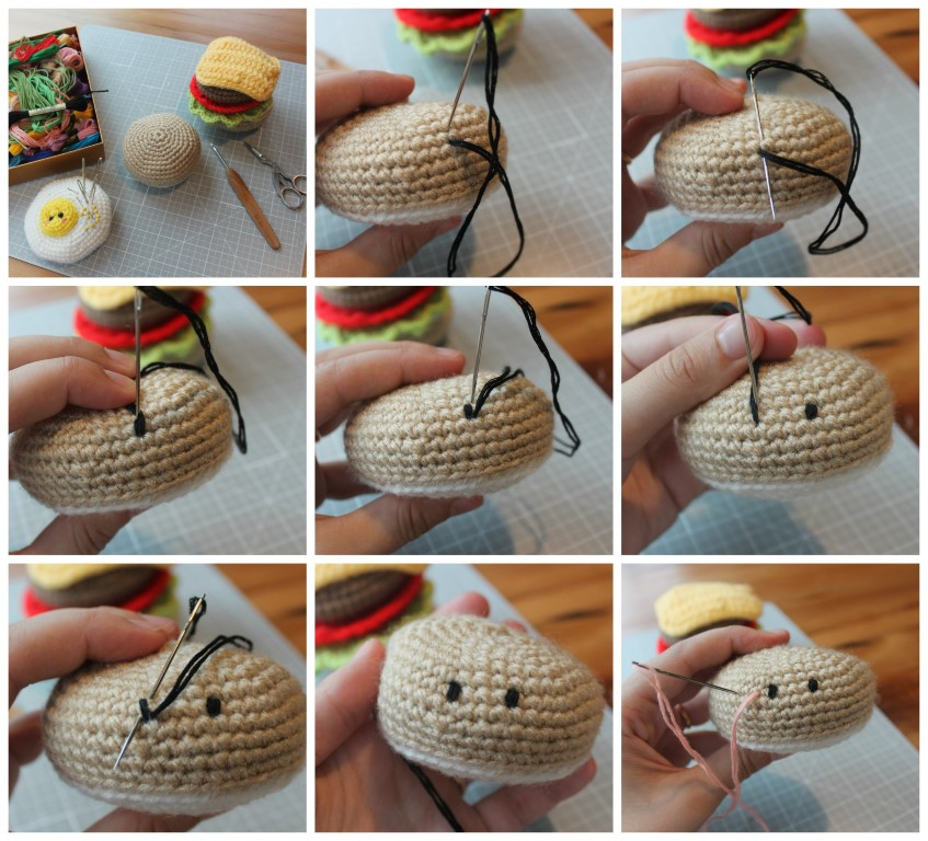 -Find the center of the piece where you want to create the face of your  amigurumi 9b7ac9173a3
