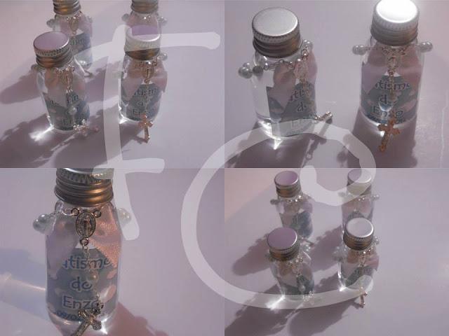 Mini Garrafa d'água Personalizada com Mini Terço - Lembrança de Batismo