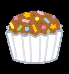 カップケーキのイラスト(茶)