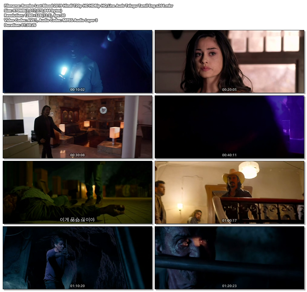 Rambo Last Blood 2019 Hindi 720p HC HDRip HQ Line Auds Telugu Tamil Eng | 480p 300MB | 100MB HEVC Screenshot