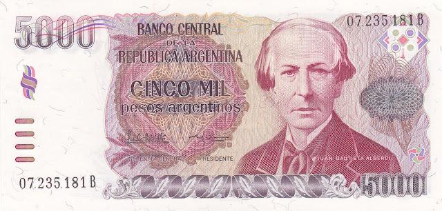 Argentina Banknotes 5000 Pesos Argentinos banknote 1985 Juan Bautista Alberdi