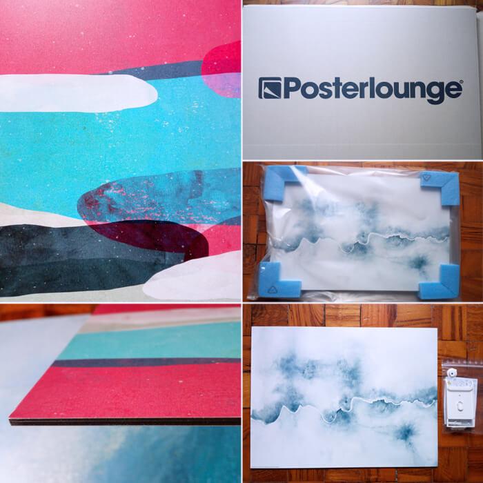 Dettaglio del supporto in alluminio e dei formati dei quadri selezionati su Posterlounge
