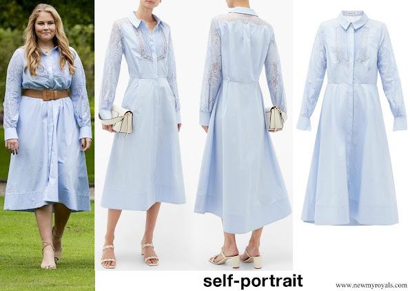 Princess Amalia wore Self portrait Lace-panel Cotton Midi Shirt Dress
