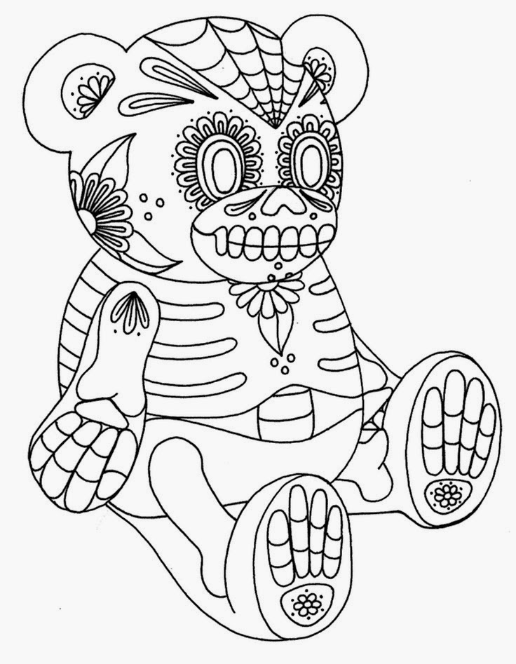 Teddy bear day of the dead tattoo stencil