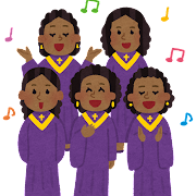 ゴスペルを歌う人達のイラスト(黒人)