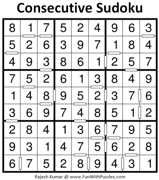 Consecutive Sudoku (Fun With Sudoku #202) Solution